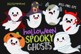 Print on Demand: Halloween Spooky Ghosts Graphic Illustrations By DigitalPapers