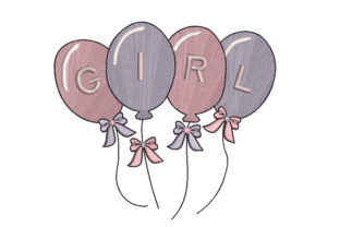 It's a Girl Balloons Nursery Embroidery Design By Canada Crafts Studio