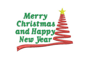 Merry Christmas and Happy New Year Christmas Embroidery Design By Embroiderypacks