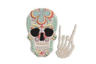 Sugar Skull with Hand Hornes Halloween Embroidery Design By Embroidery Designs