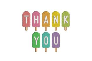 Thank You Ice Lollies Dessert & Sweets Embroidery Design By Embroidery Designs