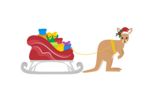 Kangaroo Pulling a Sleigh Filled with Presents Australia Craft Cut File By Creative Fabrica Crafts