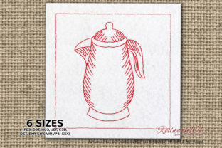 Antique Water Kettle Kitchen & Cooking Embroidery Design By Redwork101