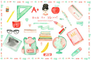 Back to School. Watercolor Clipart Graphic Illustrations By LABFcreations
