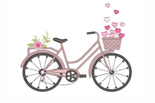 Bicycle with Hearts Valentine's Day Embroidery Design By LizaEmbroidery