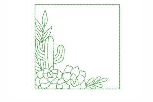 Cactus Frame Floral & Garden Embroidery Design By NinoEmbroidery