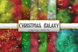 Print on Demand: Christmas Galaxy Glitter Digital Papers Graphic Backgrounds By PinkPearly 1