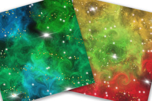 Print on Demand: Christmas Galaxy Glitter Digital Papers Graphic Backgrounds By PinkPearly 2