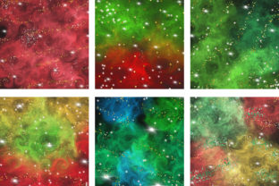 Print on Demand: Christmas Galaxy Glitter Digital Papers Graphic Backgrounds By PinkPearly 3