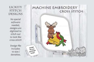 Christmas Moose with Bell Christmas Embroidery Design By Lickity Stitch Designs