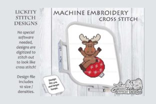 Christmas Moose with Bulb Christmas Embroidery Design By Lickity Stitch Designs