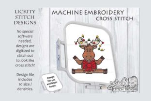 Christmas Moose with Lights Christmas Embroidery Design By Lickity Stitch Designs