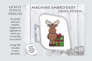 Christmas Moose with Present Christmas Embroidery Design By Lickity Stitch Designs