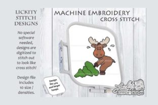 Christmas Moose with Tree Christmas Embroidery Design By Lickity Stitch Designs