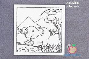 Elephant Roaming in Jungle Wild Animals Embroidery Design By embroiderydesigns101