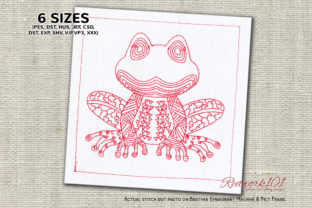 Frog with African Pattern Reptiles Embroidery Design By Redwork101