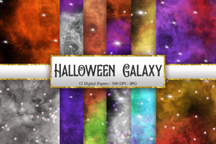 Print on Demand: Halloween Galaxy Digital Papers Graphic Backgrounds By PinkPearly