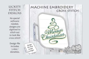 Merry Christmas Swirly Tree Christmas Embroidery Design By Lickity Stitch Designs