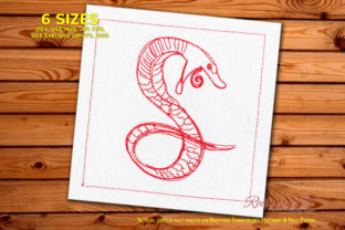 Snake with Fang Reptiles Embroidery Design By Redwork101