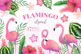 Tropical Flamingo Clipart Collection Graphic Illustrations By SipkaDesigns