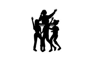 Silhouettes of People Dancing in Front of a DJ Musik Plotterdatei von Creative Fabrica Crafts