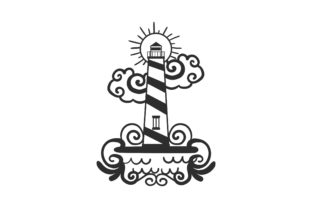 Lighthouse with Waves Designs & Drawings Craft Cut File By Creative Fabrica Crafts