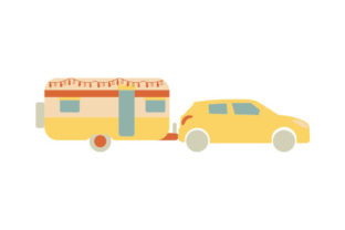Vintage Camping Trailer Being Towed Designs & Drawings Craft Cut File By Creative Fabrica Crafts