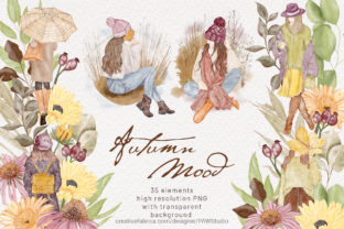 Print on Demand: Autumn Mood Watercolor Clipart Boho Girl Graphic Illustrations By PawStudio