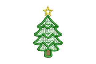 Christmas Tree with Star Christmas Embroidery Design By Embroiderypacks