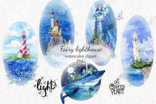 Fairy Lighthouse, Watercolor Clipart PNG Graphic Illustrations By CherrypearStudio