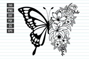 Flower Butterfly Svg Floral Svg Design Graphic Print Templates By Dakhashop