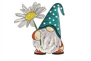 Gnome with a Daisy Fairy Tales Embroidery Design By NinoEmbroidery