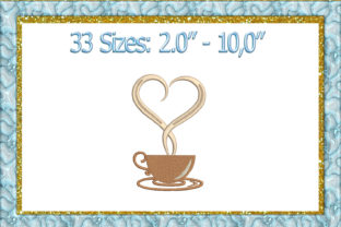 Print on Demand: Heart Coffee Lover Kitchen & Cooking Embroidery Design By larisaetsy