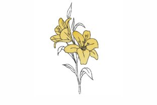 Lily Single Flowers & Plants Embroidery Design By LizaEmbroidery