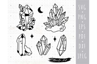 Magic Crystal and Gems SVG Bundle Graphic Illustrations By MySpaceGarden