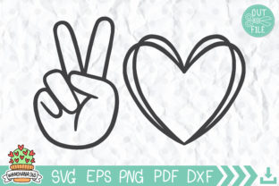Peace and Love SVG File Graphic Print Templates By wanchana365