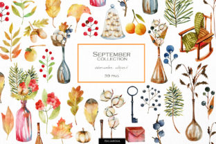 Print on Demand: September. Autumn Clipart. Graphic Illustrations By HappyWatercolorShop