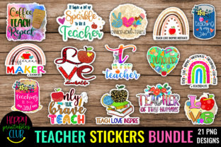 Teachers Sticker Bundle - Stickers Cute Graphic Crafts By Happy Printables Club