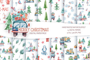 Print on Demand: Watercolor Christmas Seamless Patterns. Graphic Patterns By Tiana Geo