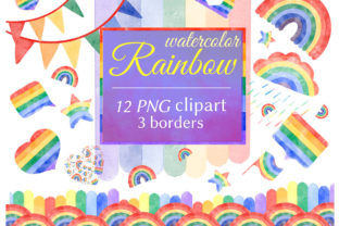 Watercolor Rainbow Clipart & Borders Graphic Illustrations By AnaGuziiArt