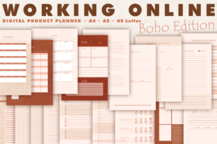 Print on Demand: Working Online Digital Product Planner. Graphic KDP Interiors By artsbynaty
