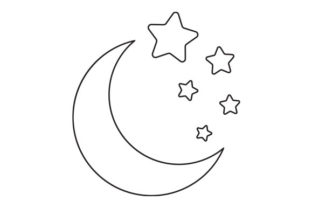 Moon and Star Line Drawing Designs & Drawings Craft Cut File By Creative Fabrica Crafts