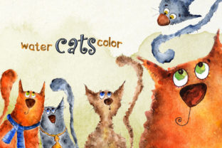 A Set of Watercolor Drawings of Cats Graphic Web Templates By WatercolorСreatures