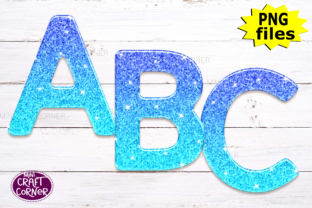 Print on Demand: Blue Ombre Glitter Letters Graphic Illustrations By Mini Craft Corner