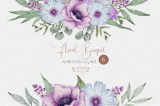 Print on Demand: Blue and Violet  Flower Bouquet Clipart Graphic Illustrations By wannafang