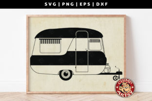 Print on Demand: Camping Trailer Caravan Silhouette SVG Graphic Crafts By ChimpArtsy