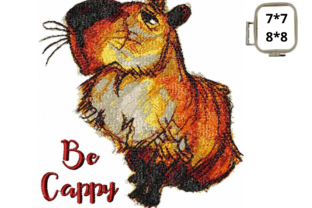 Capybara Be Cappy Animal Quotes Embroidery Design By LaceArtDesigns