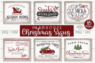 Print on Demand: Christmas Farmhouse Sign SVG Bundle Graphic Crafts By browncowcreatives