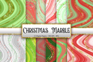 Print on Demand: Christmas Glitter Marble Digital Papers Graphic Backgrounds By PinkPearly