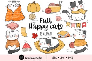 Fall Cat Clipart Graphic Illustrations By CatAndMe